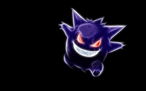 Picture black background, red eyes, pokemon, pokemon, neon lines, gengar, gengar, a devilish smile