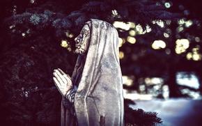 Picture statue, bokeh, plea