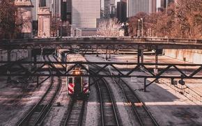 Picture city, United States, Chicago, Illinois, train, urban, cityscape, transportation, railroad, urban scene