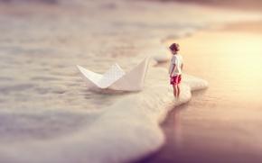 Picture sea, boy, boat