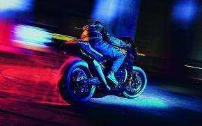 Picture Burnout, night, Kawasaki, moto, night, custom, 1984, sportbike, gpz900r, icon1000, Old Ghost, 84'