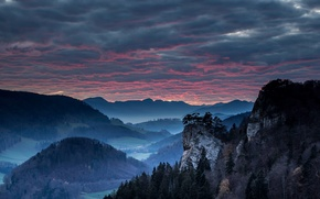 Picture the sky, trees, mountains, clouds, rocks, the evening, valley