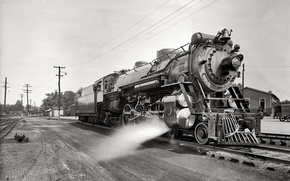 Wallpaper train, black and white, the engine