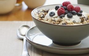 Picture food, Breakfast, blueberries, plate, spoon, sweet, raisins, muesli raspberry