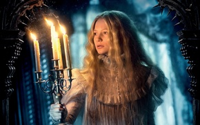 Picture cinema, sake, horror, ghost, long hair, woman, snow, movie, blonde, film, yuki, actress, candle, chandelier, ...