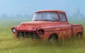Wallpaper grass, broken, figure, truck