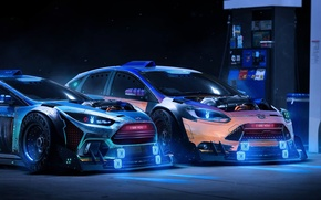 Picture Ford, Focus, Station, Neon, Rendering, 2015, Petrol, by Khyzyl Saleem