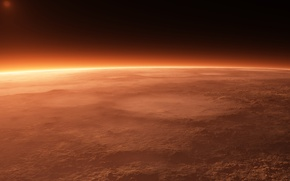 Picture surface, sunrise, dust, the atmosphere, horizon, Mars, craters