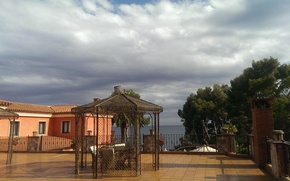 Picture sea, clouds, Trees, resort, Spain