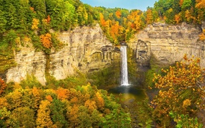 Picture autumn, forest, the sky, mountains, rocks, waterfall, stream