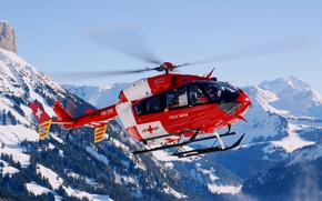Picture forest, flight, mountains, helicopter, flies, in the air, rescue, snow