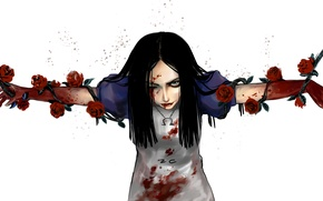 Picture look, girl, flowers, blood, art, Alice, Alice, Alice Madness Returns, shackles