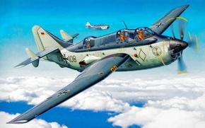 Picture war, art, airplane, painting, aviation, Fairey Gannet