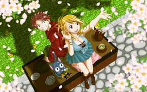 Wallpaper girl, spring, the tea party, guy, happy, flowering, fairy tail, lucy heartfilia, natsu dragneel
