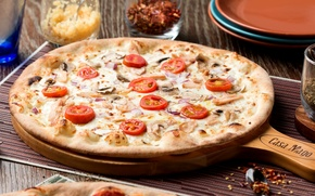 Picture cheese, pizza, tomatoes, mushrooms