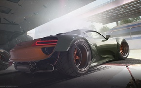 Picture Concept, Porsche, Car, Race, 918, Wheels, Garage, Rear, Ligth