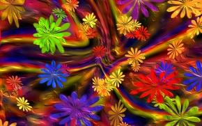 Picture flowers, paint, petals, the volume