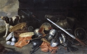 Picture dog, picture, sword, helmet, 7 Peter The Much Needed, Military Accessories and Trophies