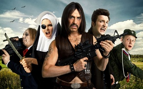 Wallpaper The lights of the village, vampire, poster, mustache, characters, camcorder, vest, Comedy, katana, nun, tattoo, ...