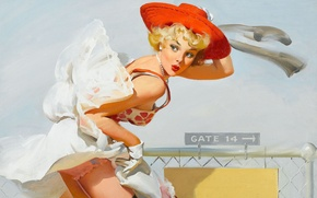 Picture girl, retro, the wind, figure, skirt, hat, Pin-up