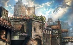 Picture girl, flight, flowers, the city, dragon, window, art