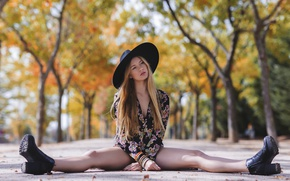 Picture summer, girl, street, hat, dress, legs, sitting
