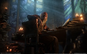 Picture GameWallpapers, look, books, grandfather, Diablo 3, candles, the Cathedral of Tristram, Tristram, Deckard Cain, the …