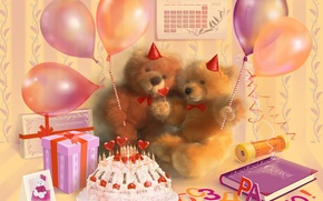 Wallpaper bears, cake, table, gifts, calendar, decoration