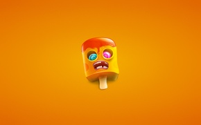 Picture eyes, orange, minimalism, teeth, mouth, zombies, ice cream, zombie, wand, ice cream