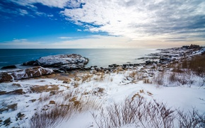 Picture sea, the sky, clouds, snow, rocks, plant