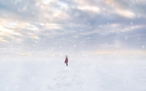 Picture field, girl, snow