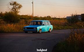 Picture greens, asphalt, posts, plant, blue, blue, 2104, Soviet machine, bodybeat