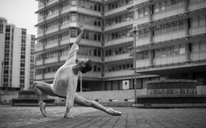Picture girl, woman, model, street, bokeh, black and white, female, ballet, b/w, ballerina
