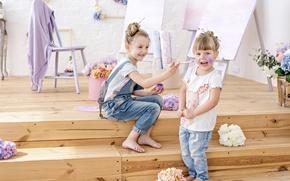 Picture joy, flowers, children, paint, girls, jeans, hands, steps, brush, girls, flowers, Little, Jeans