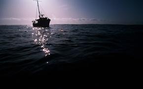 Picture sea, the sky, water, landscape, boat, swimming