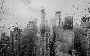 Picture glass, drops, macro, rain, overcast, building, disaster, skyscrapers, the evening, hurricane, night, new york, clouds, …