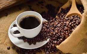 Wallpaper cup, drink, coffee, coffee beans