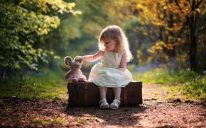 Picture nature, mood, toy, girl, suitcase