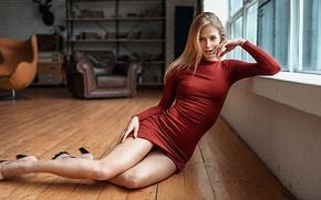Picture Girl, Look, Dress, Legs, Red, Beautiful, Studio, Mila Prihodova