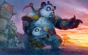 Picture art, the gun, World of Warcraft, Orc, Pandaren, father and son
