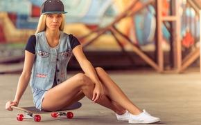 Wallpaper pose, figure, blonde, legs, dzhinsovka, shorts, girl, cap, skate, skateboard