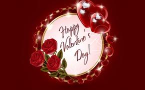 Picture heart, diamonds, hearts, love, rose, heart, romantic, Valentine's Day, Happy