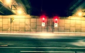 Picture car, light, cars, night, traffic light