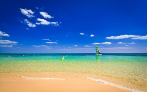 Picture sand, beach, the sky, clouds, boat, The ocean, horizon, the buoys