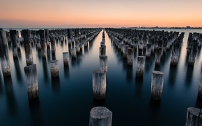 Picture sky, ocean, wood, water, shore, Australia, port, Port Melbourne, long exposure