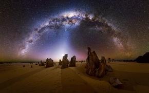 Picture stars, night, desert, the milky way