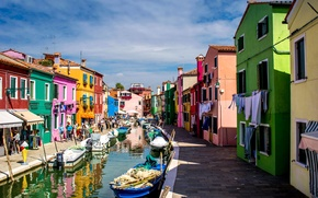 Picture paint, boat, island, home, Italy, Venice, channel, Burano