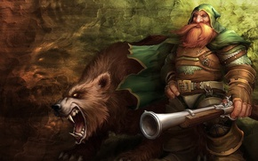 Wallpaper bear, the gun, wow, dwarf, wall, world of warcraft, mouth