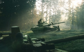 Picture nature, weapons, figure, morning, Forest, bears, art, tank, Russia, render, pine forest