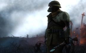 Picture war, soldiers, knife, machine, destruction, gas mask